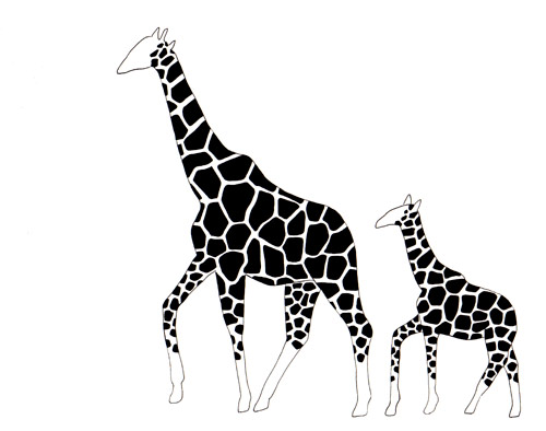 Line Drawing Giraffe : Animal mama and babies : a new fleet of drawings blue bicicletta